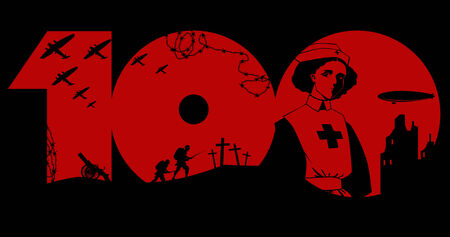 Great War memorial graphic design with black silhouette of period military artifacts and a nurse over red number hundred
