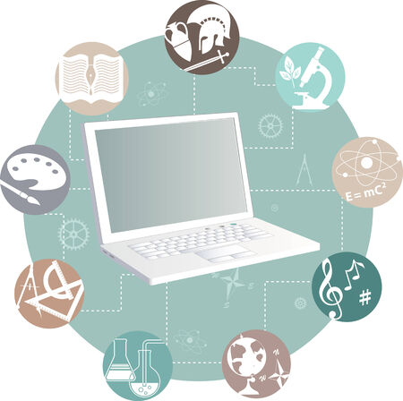 Laptop and study subjects, vector illustration