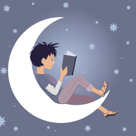 Little kid reads a book, sitting on a crescent moon