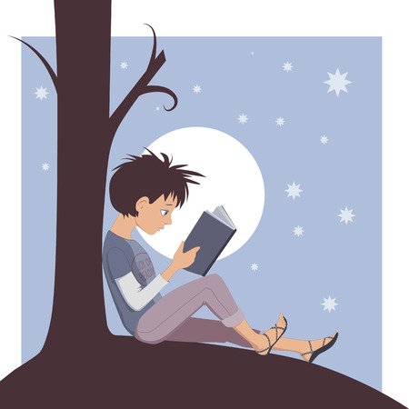 Little kid reading a book under a tree, illustration