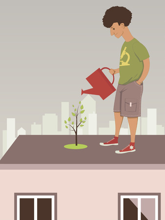 Young man watering a tree in a rooftop garden in the city illustration Vector
