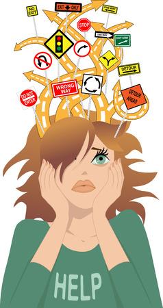 Caminos enredados con las señales de tráfico confusas que salen de la cabeza de una chica s como una metáfora para el trastorno de déficit de atención