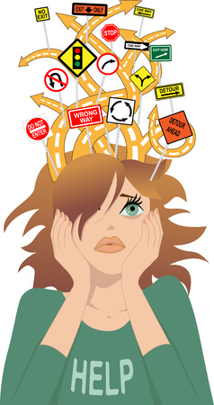 Tangled roads with confusing traffic signs coming out of a girl s head as a metaphor for attention deficit disorder Illustration