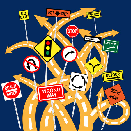Tangled road with confusing signs, conceptual vector illustration