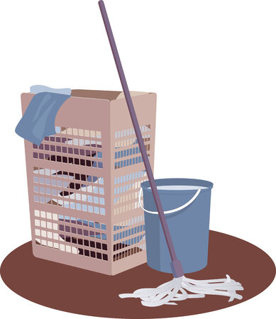 domestic life: Laundry hamper, bucket and mop Illustration