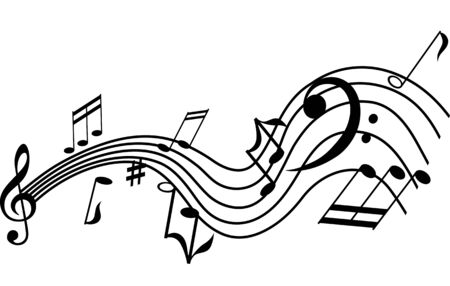 music staff: Musical symbols on a twisted staff, vector graphic design element
