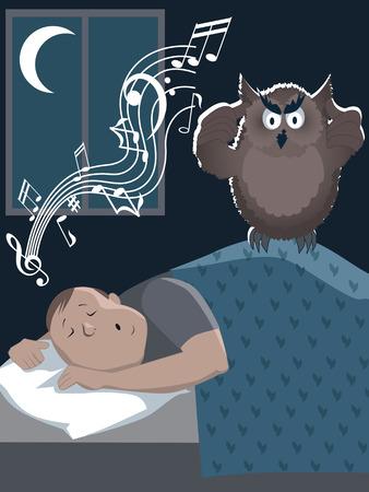 snoring: Snoring man and annoyed owl