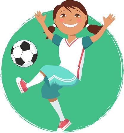 futbol soccer dibujos: Niña de dibujos animados jugar al fútbol en un fondo circular, ilustración vectorial
