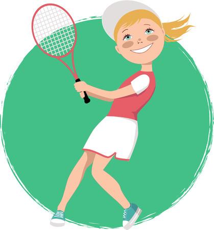 Cartoon meisje spelen van tennis, vector illustratie Stock Illustratie