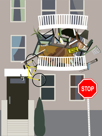 Hoarder  A balcony in an apartment building overflown with clutter, vector illustration