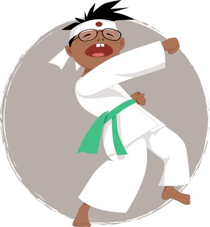 self defense: Chico negro en gafas haciendo karate, ilustraci�n vectorial