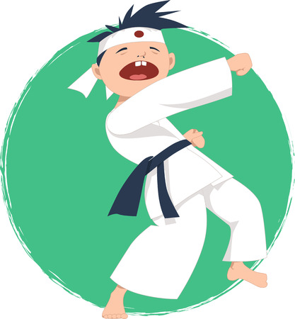 little boy: Little boy doing karate Illustration