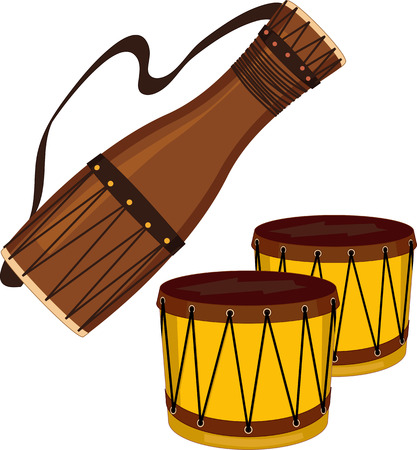 djembe: Bata and bongo drums isolated on white