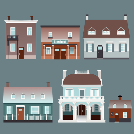 detached house: Set of vector illustrations of traditional European buildings Illustration