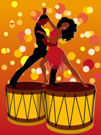 bailar salsa: Pareja de baile latino en bongos