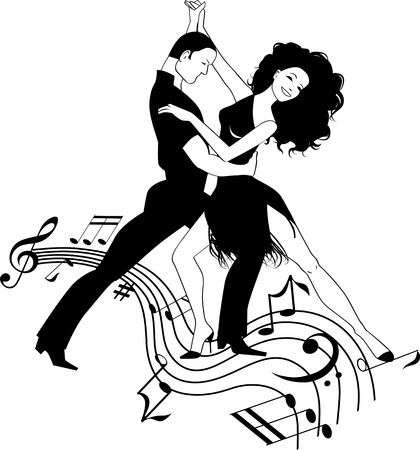 Couple dancing Latin on a whirly musical stave, black and white vector clipart