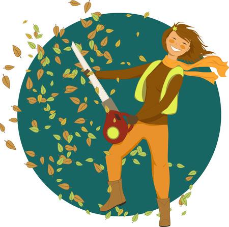 葉送風機を持つ女性