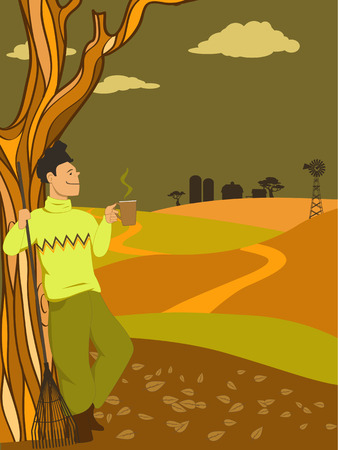 rural scene: Man taking a break from raking leaves, drinking a hot beverage, looking at a countryside view, vector illustration, no transparencies