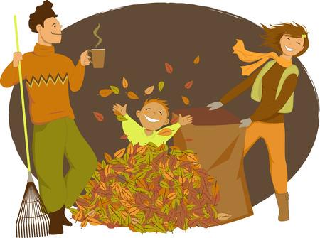 weekend activities: Family raking autumn leaves Illustration
