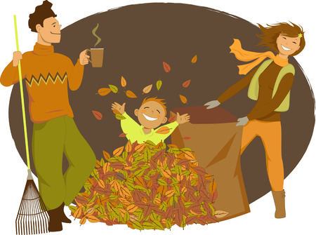 rake: Family raking autumn leaves Illustration