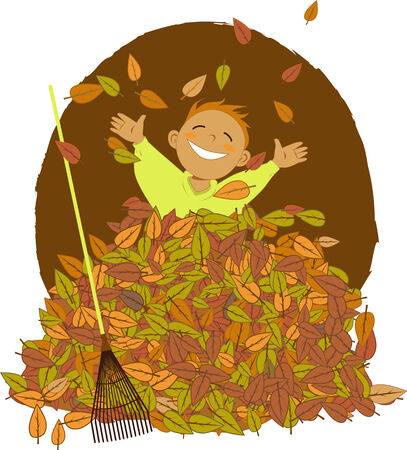 Happy little boy playing in a pile of fallen leaves, a rake lying near by, vector cartoon Ilustração