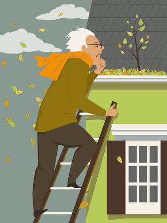 Middelbare leeftijd man schoonmaken van een dakgoot