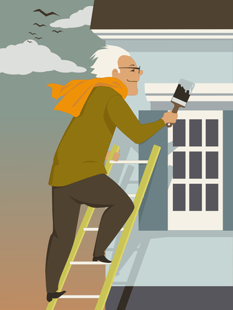 Middle age man doing paint touch-up at the exterior of his home in autumn, vector illustration Illusztráció
