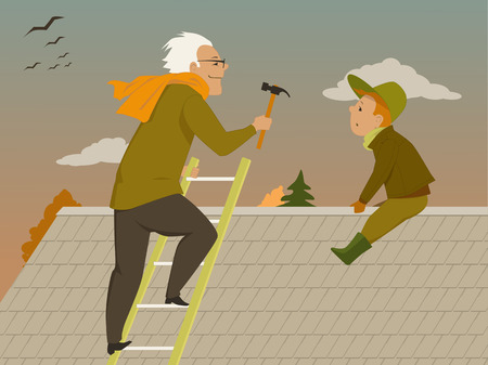 roof shingles: Man and boy sitting on a roof in an autum day, preparing a house for winter, vector illustration