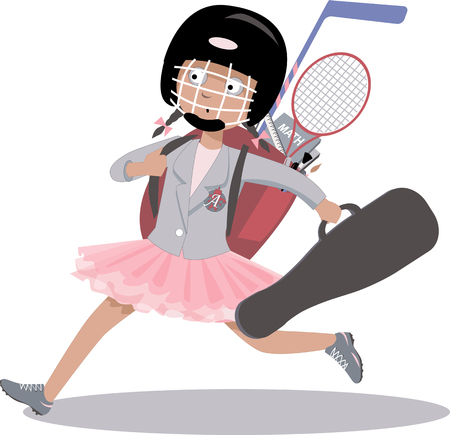 concerted: Overachieving girl hurrying to her multiple after school classes, vector cartoon Illustration