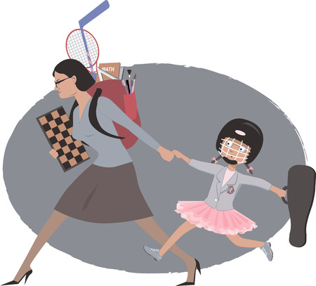 Overachieving woman dragging her daughter to multiple after school classes and practicalities, vector illustration