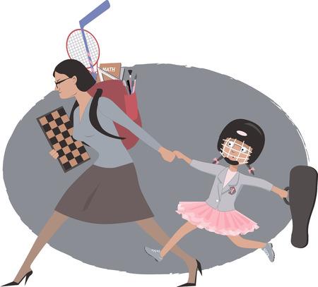 Overachieving vrouw haar dochter te slepen naar meerdere naschoolse lessen en praktische aspecten, vectorillustratie Stock Illustratie