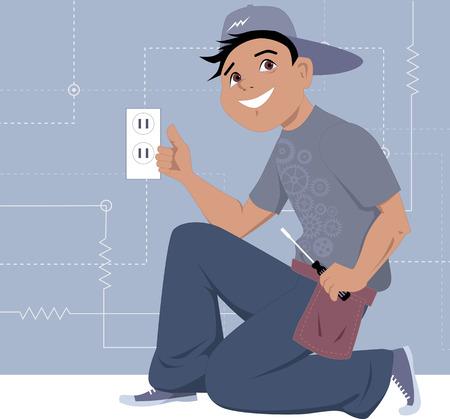 Lachende cartoon karakter knielen in de buurt van de muur met een stopcontact