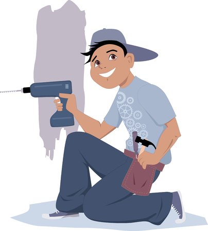 Handyman with an electric drill