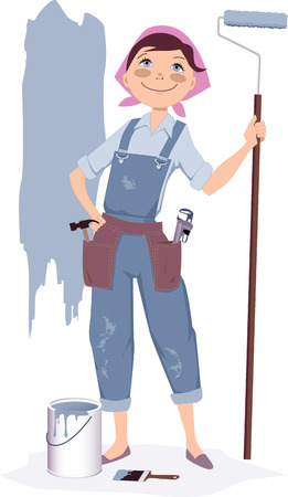 Painting a house.