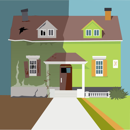 flipping: House before and after a renovation Illustration