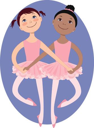 after school: Two cartoon little girls dancing a ballet duet