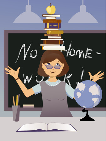 Teacher in a classroom balancing a stack of books on her head and an apple, vector illustration, no transparencies Illustration