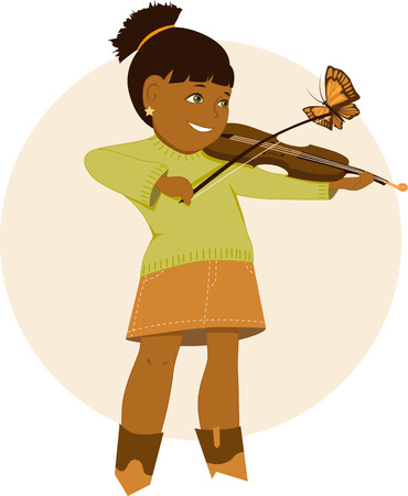 after school: Little cartoon girl playing violin, butterfly sitting on her bow, vector illustration, no transparencies  Illustration