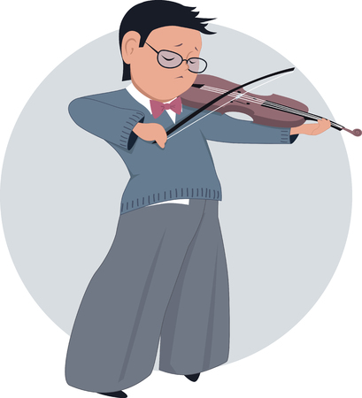 after school: Little boy playing violin