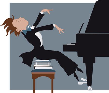 Jongen het spelen van een piano Stock Illustratie