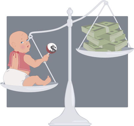 Cost of having a baby. Scales with a baby on one pan and a pile of money on another