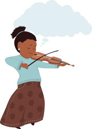geigen: K�nstlerischen Phantasie. Kleines M�dchen in einem langen Rock, der Geige spielt, Kopie, Raum in der Form einer Wolke �ber dem Kopf, Vektor-Illustration, keine Transparentfolien