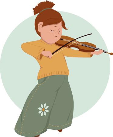 Meisje spelen viool Stock Illustratie