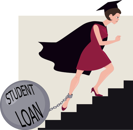 students college: Student loan burden Illustration