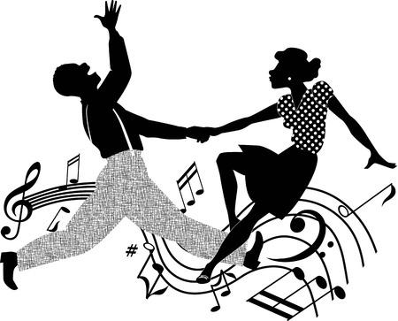 baile afro: Silueta ilustraci�n vectorial blanco y negro de una pareja de baile afro-americano