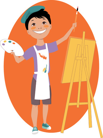 Little boy painting with an easel