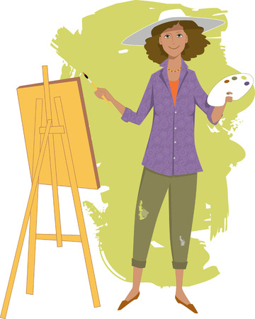 middle age women: Female artist painting