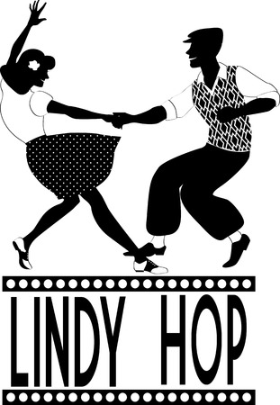 jive: Black vector silhouette of a couple dancing lindy hop, no white
