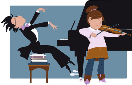 duet: School recital. Little girl playing violin and little boy accompanying her on a piano, vector cartoon