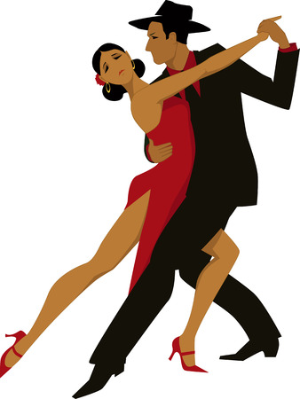 latin: Hispanic couple dancing tango, vector illustration, no transparencies